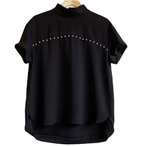 ZARA Black Blouse with Pearl Detail